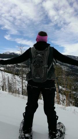 Rachel snowshoeing
